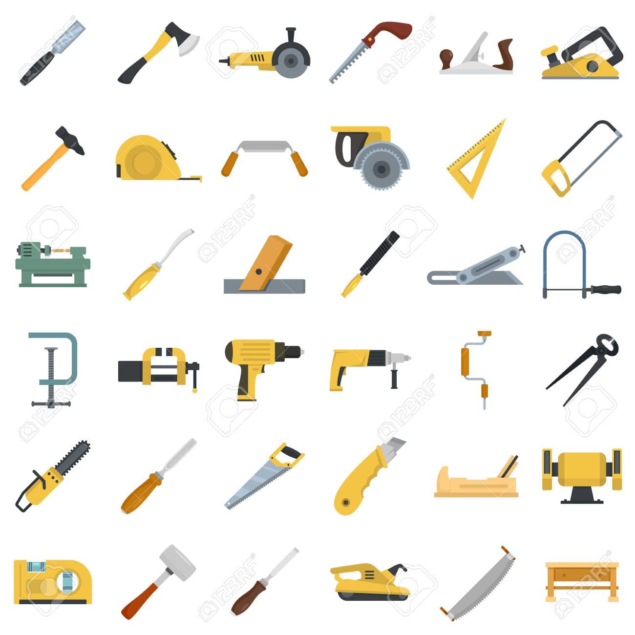 Carpenter icon set, flat style - 129577231