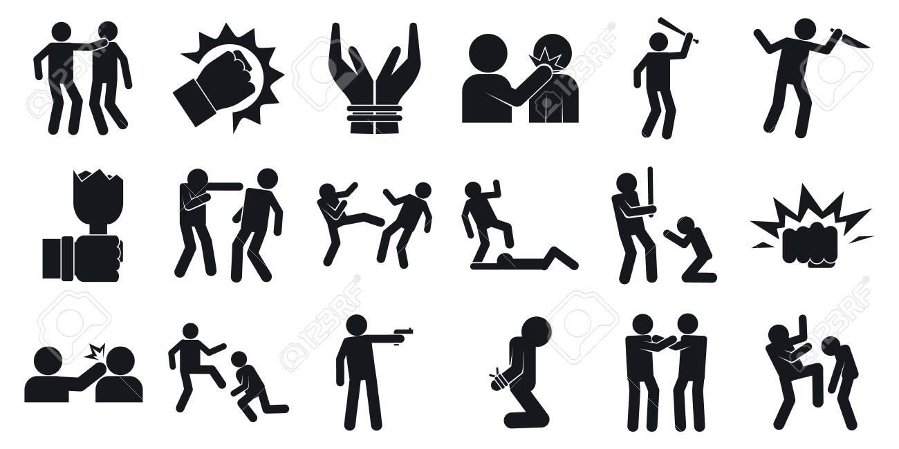 Violence icons set, simple style - 131056800