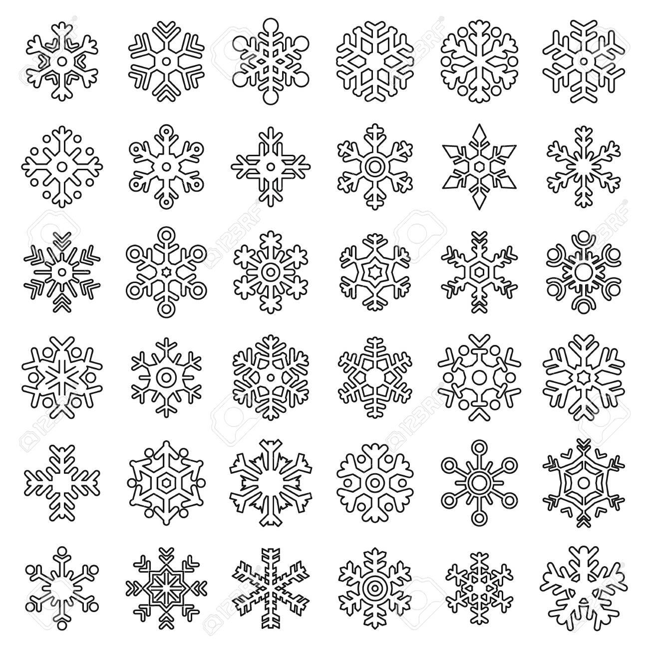Snowflake christmas icons set. Outline set of snowflake christmas vector icons for web design isolated on white background - 141626769