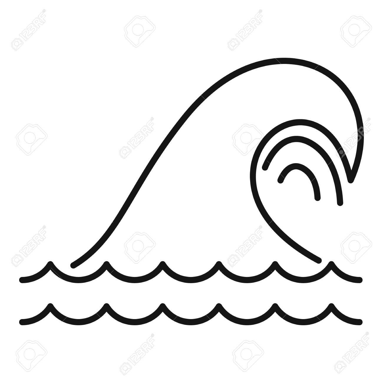 Tsunami icon. Outline tsunami vector icon for web design isolated on white background - 147739242