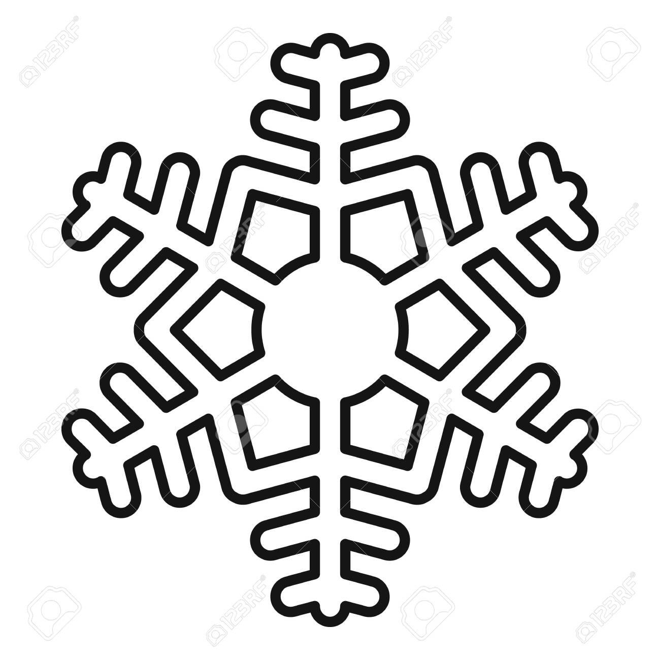New snow snowflake icon, outline style - 147938575