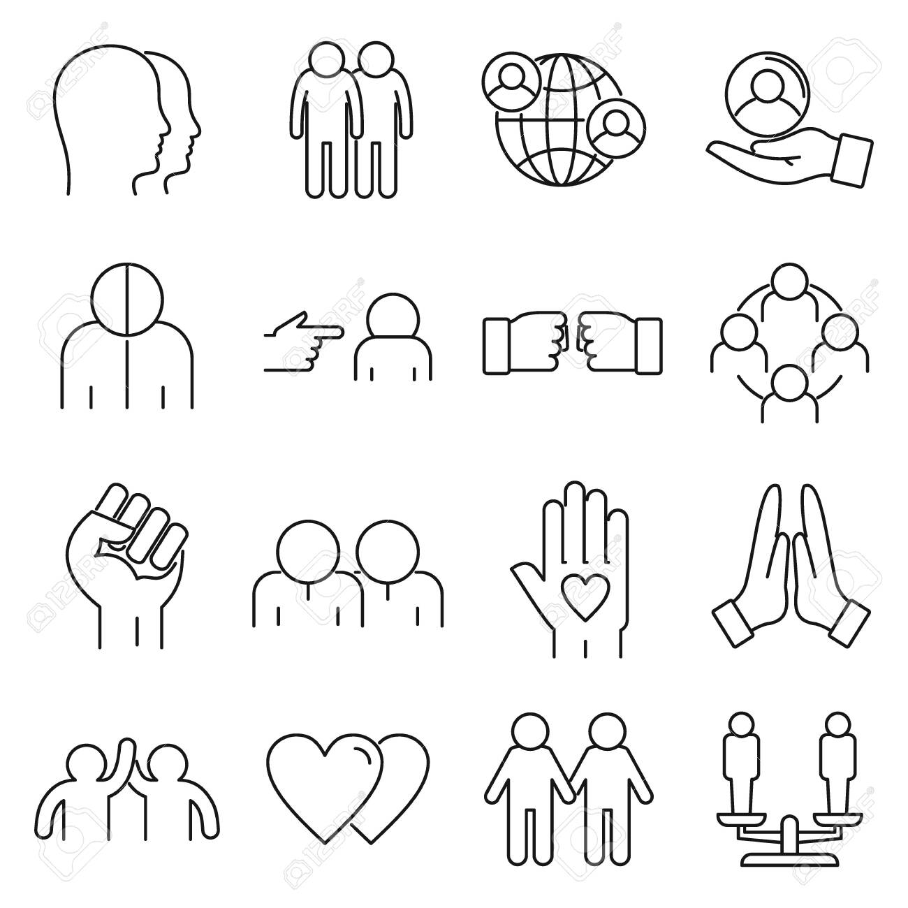 No to racism icons set, outline style - 152262018