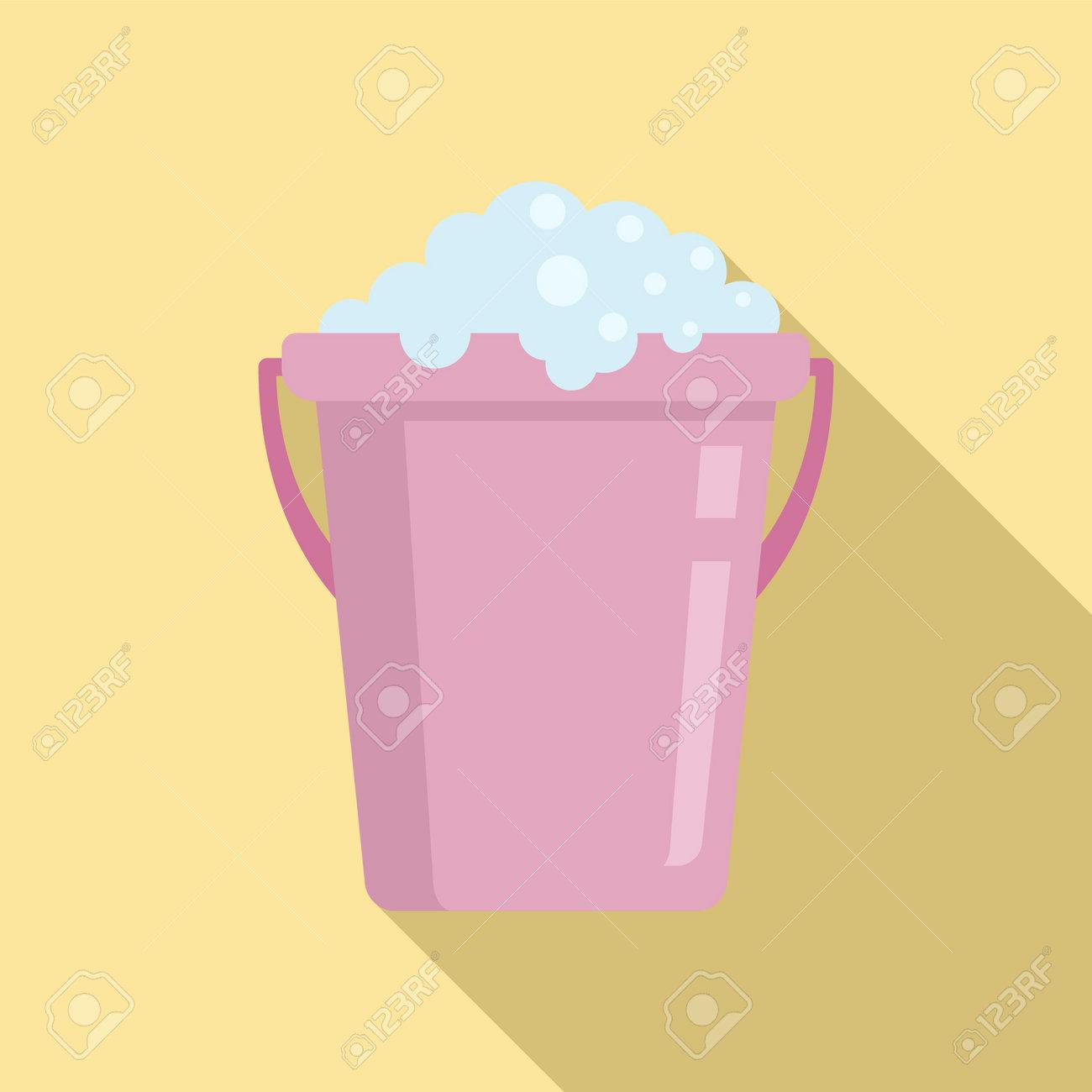 Wash soap bucket icon, flat style - 161096498