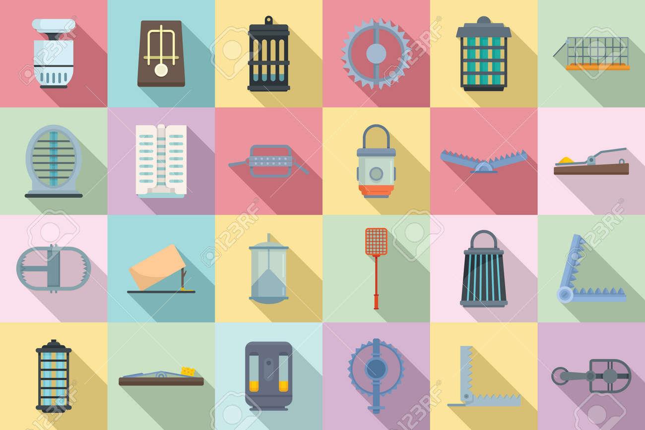 Animal trap icons set, flat style - 167654937