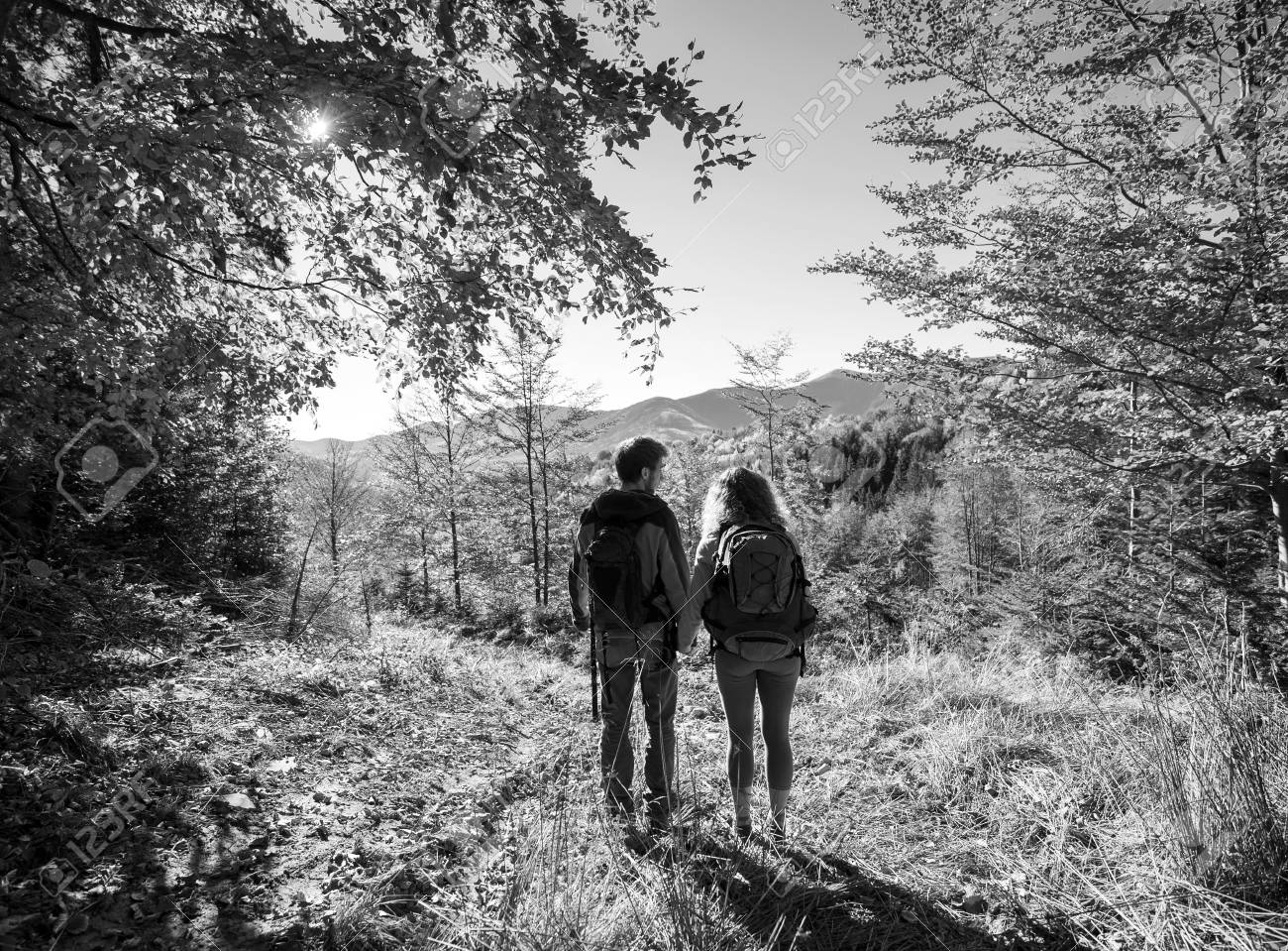 Rear view of young couple hikers holding hands and enjoying beautiful scenery on valley warm