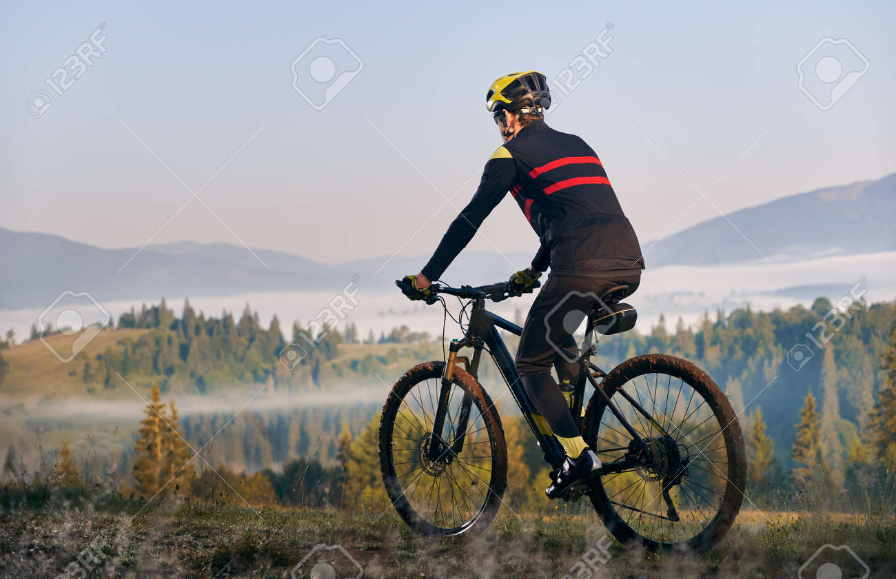 Male cyclist in cycling suit riding bike with coniferous trees and hills on background. Man bicyclist enjoying bicycle ride in mountains. Back view. Concept of sport, biking and active leisure. - 173107298