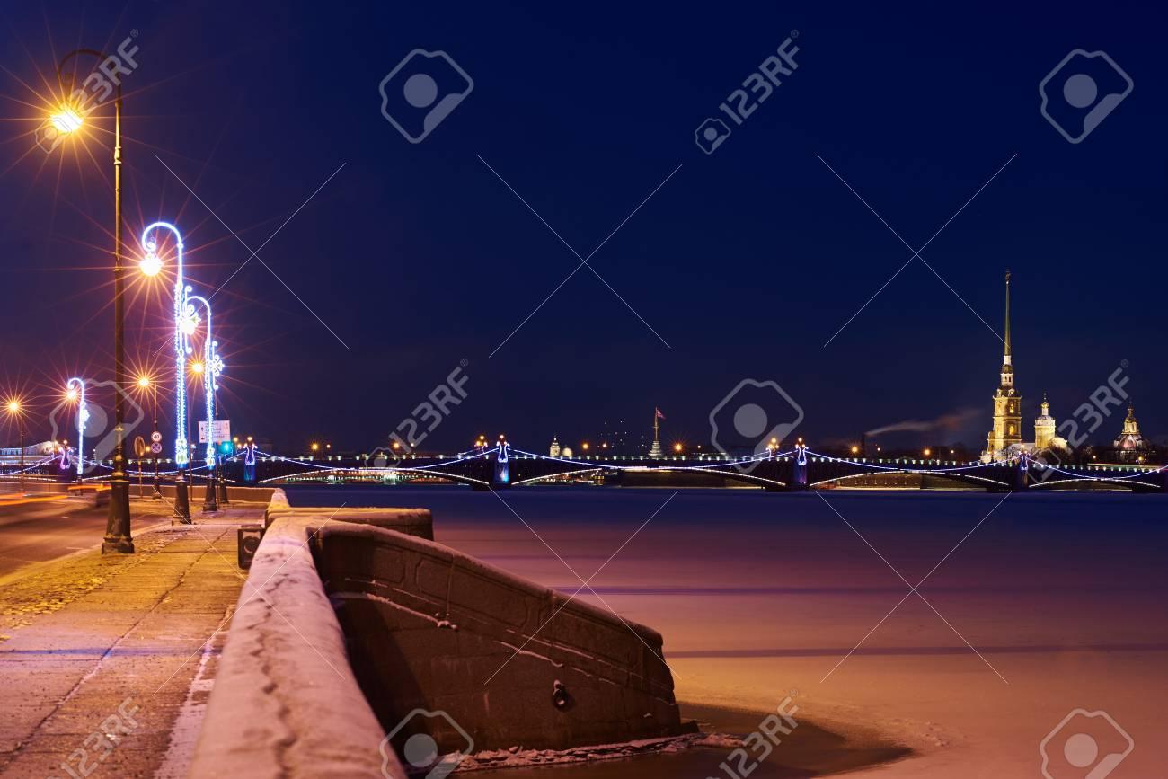 Perfict view on ice Neva river, Kutuzov enbankment and St Peter