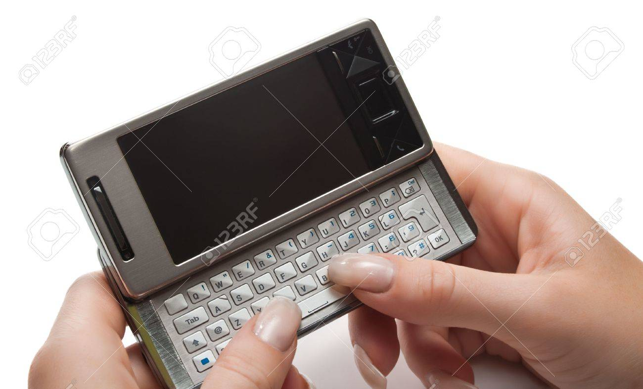 Typing on pda, isolated Stock Photo - 3674895