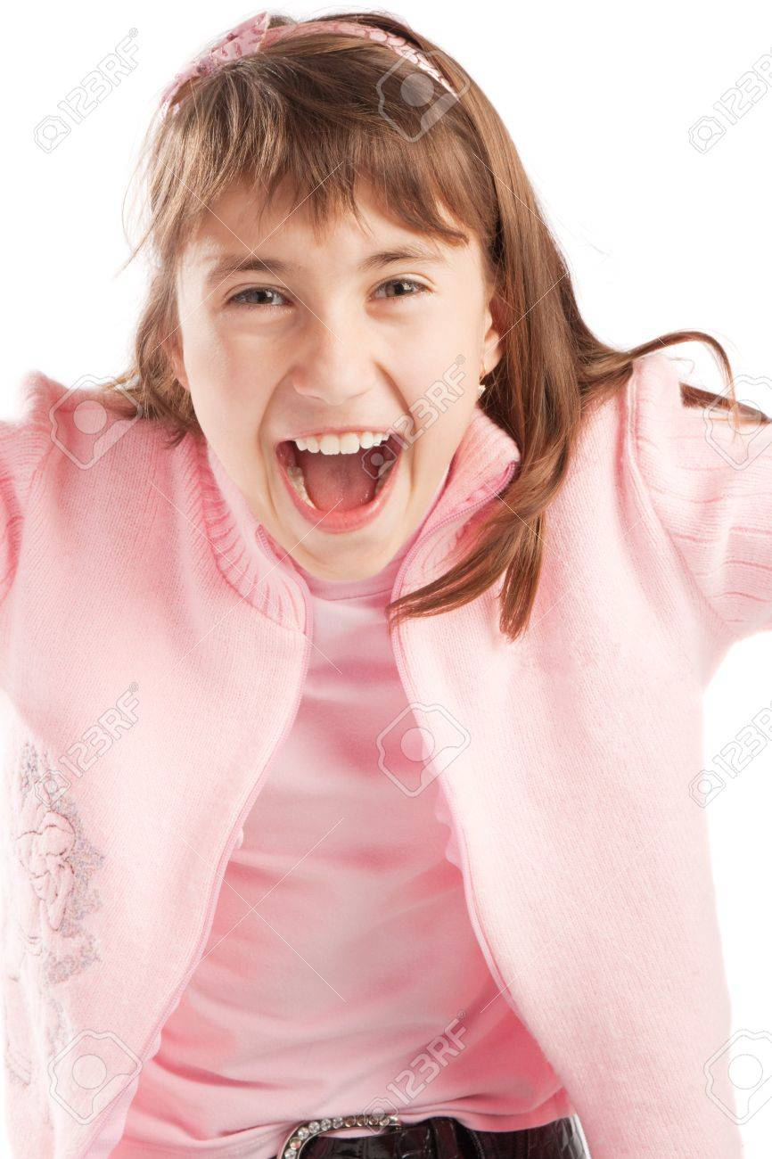 Excited teenager in pink jacket, isolated Stock Photo - 3950206