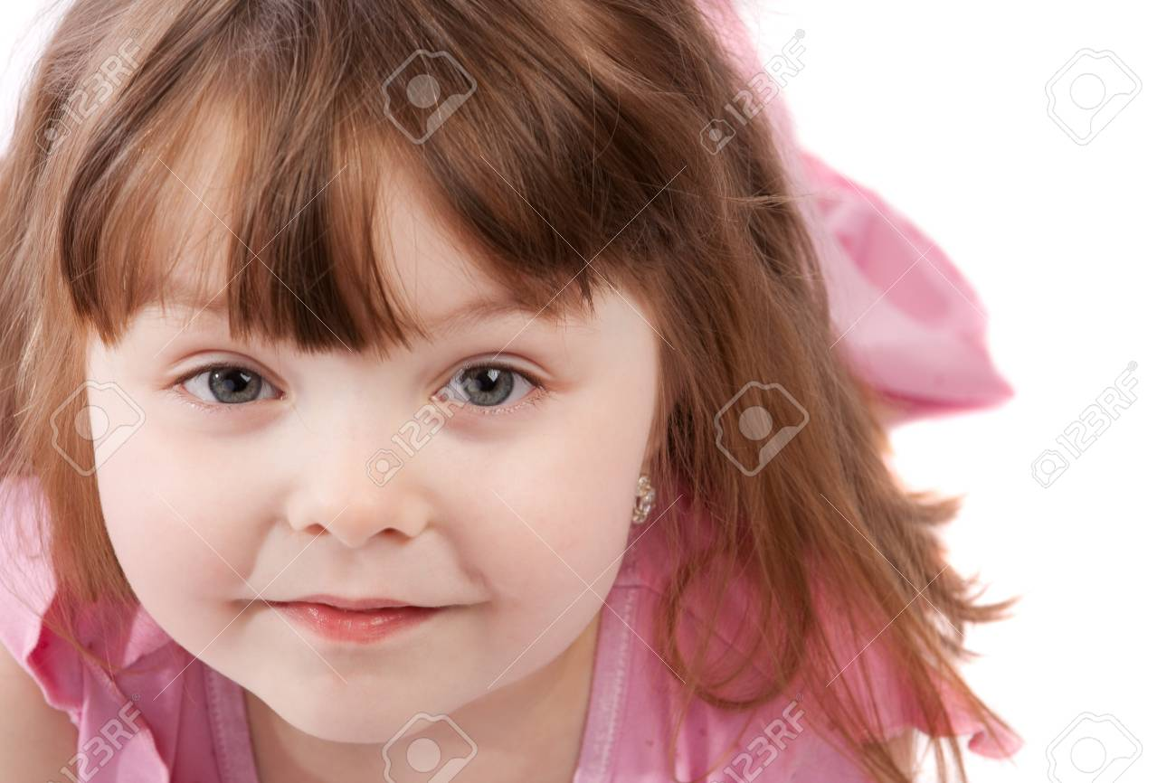 Portrait of a sweet little girl, isolated Stock Photo - 4041382