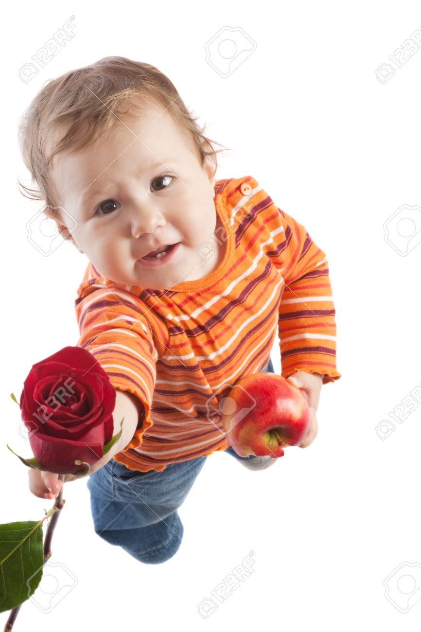 Kid giving a red rose, isolated Stock Photo - 4071317