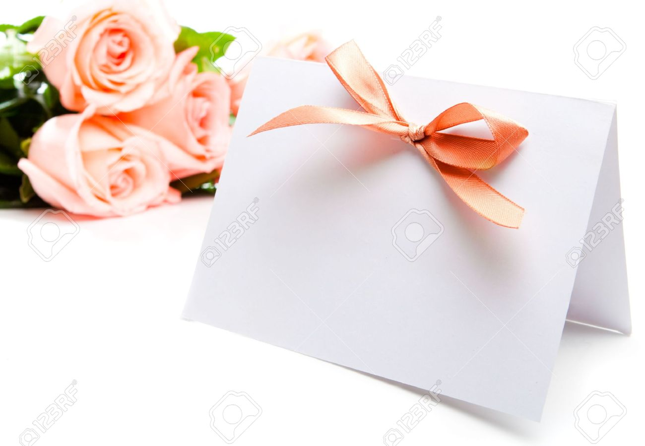 Blank invitation card and roses on background Stock Photo - 4647721