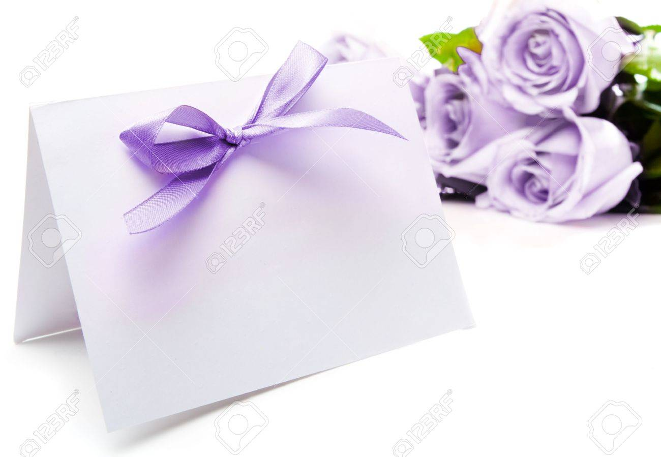 Purple greeting card and roses Stock Photo - 4906978