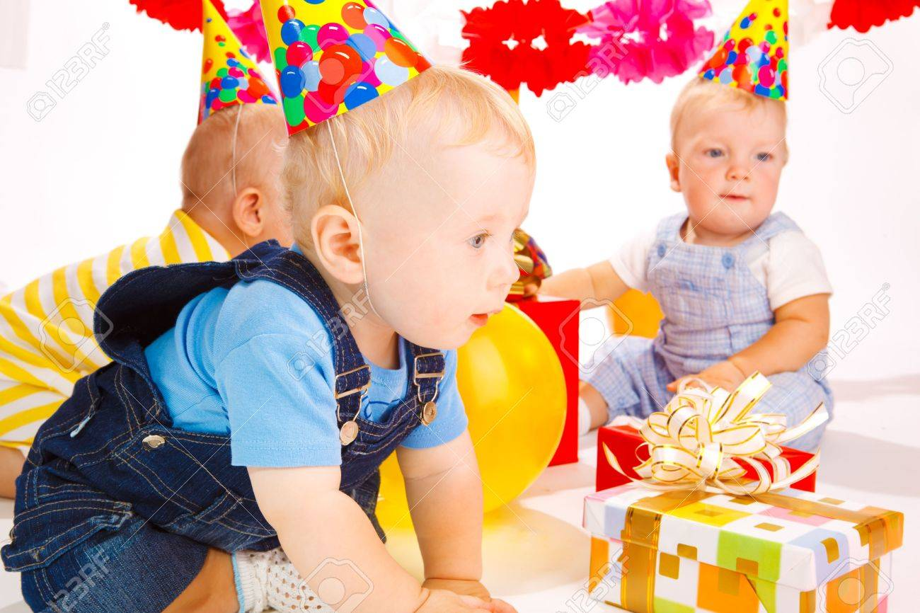 Babies having fun at the birthday party Stock Photo - 5484178