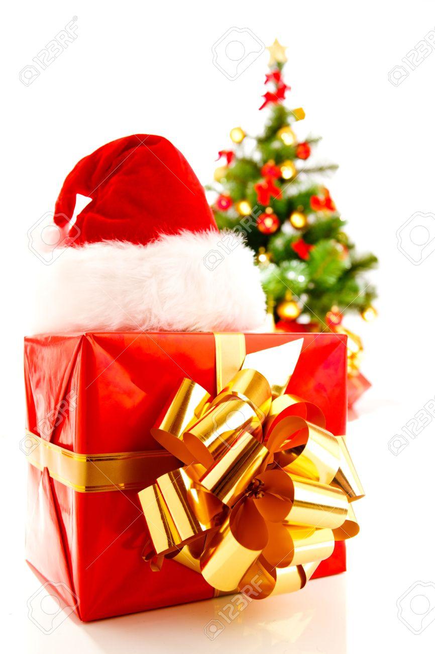 Christmas symbols - santa hat, present, Xmas tree Stock Photo - 5682160
