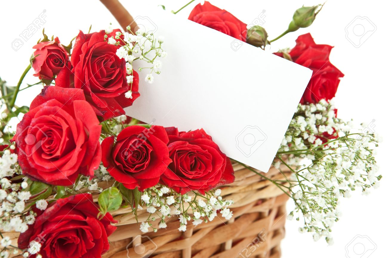 Red Roses And Blank Invitation Card In Wicker Basket Photo – Blank Invitation Card