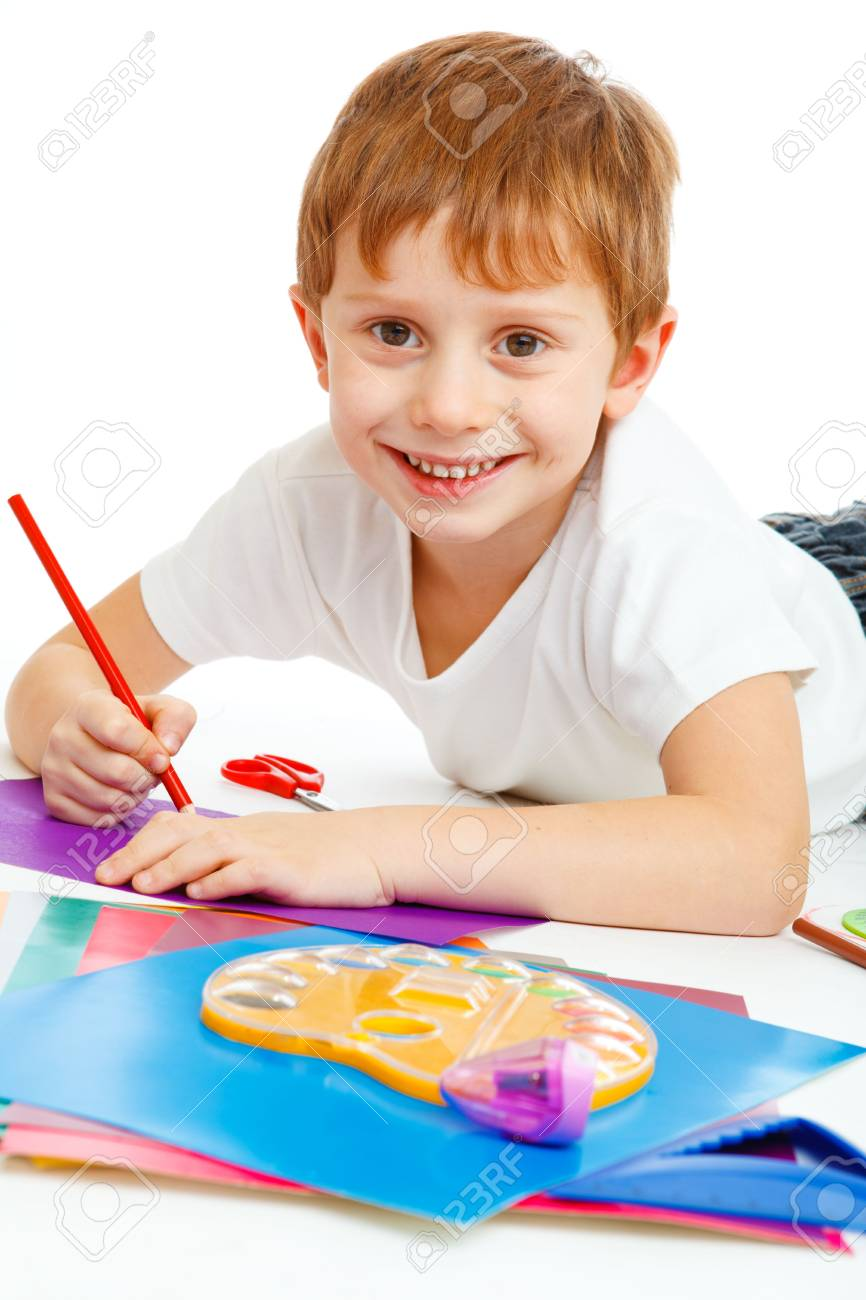 Portrait of a cute preschool boy drawing Stock Photo - 6135143