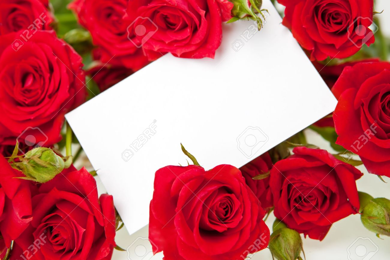 Red Roses And A Blank Invitation Card Stock Photo Picture And