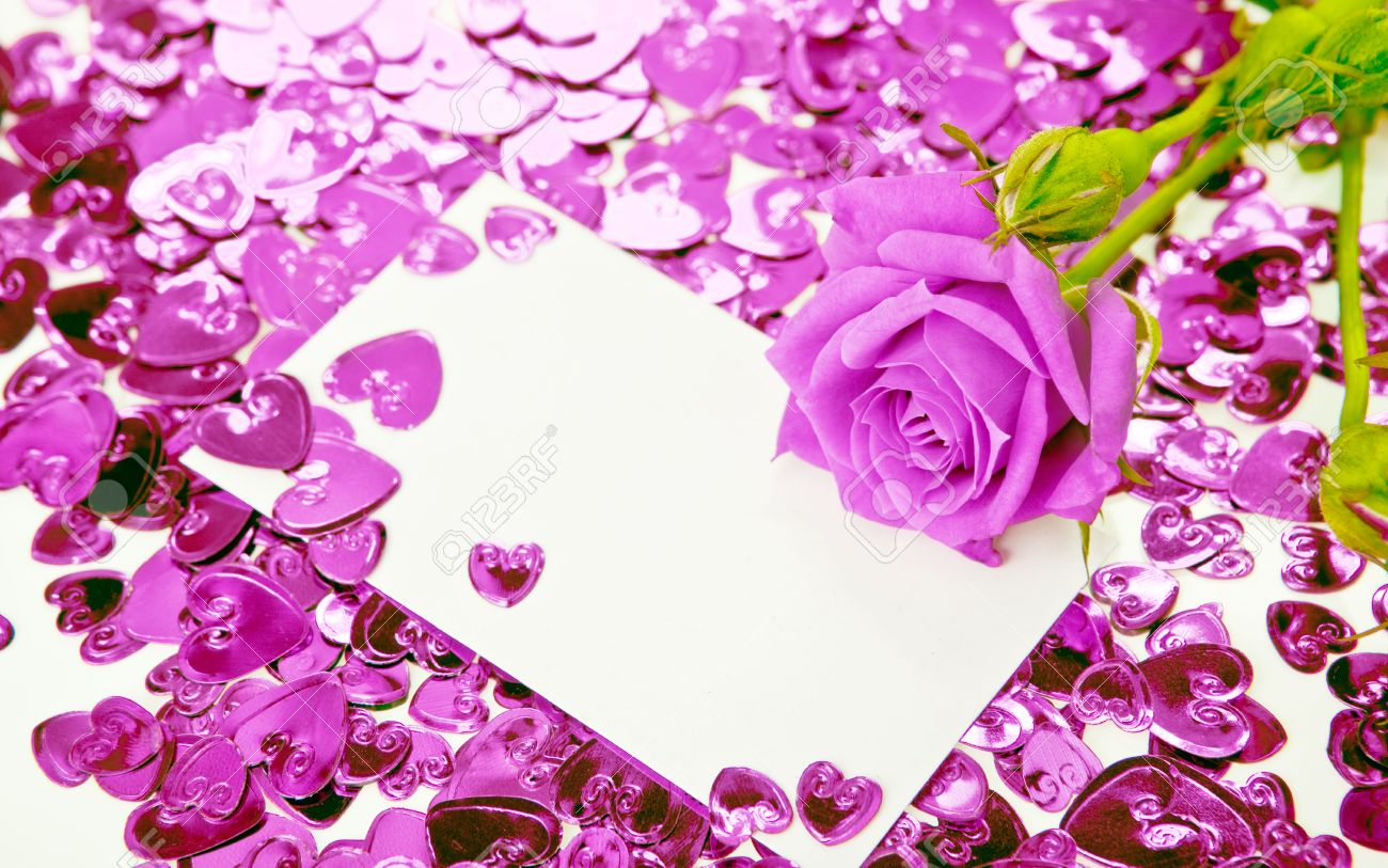 Purple Rose And A Blank Invitation Card Photo Picture And – Blank Invitation Card