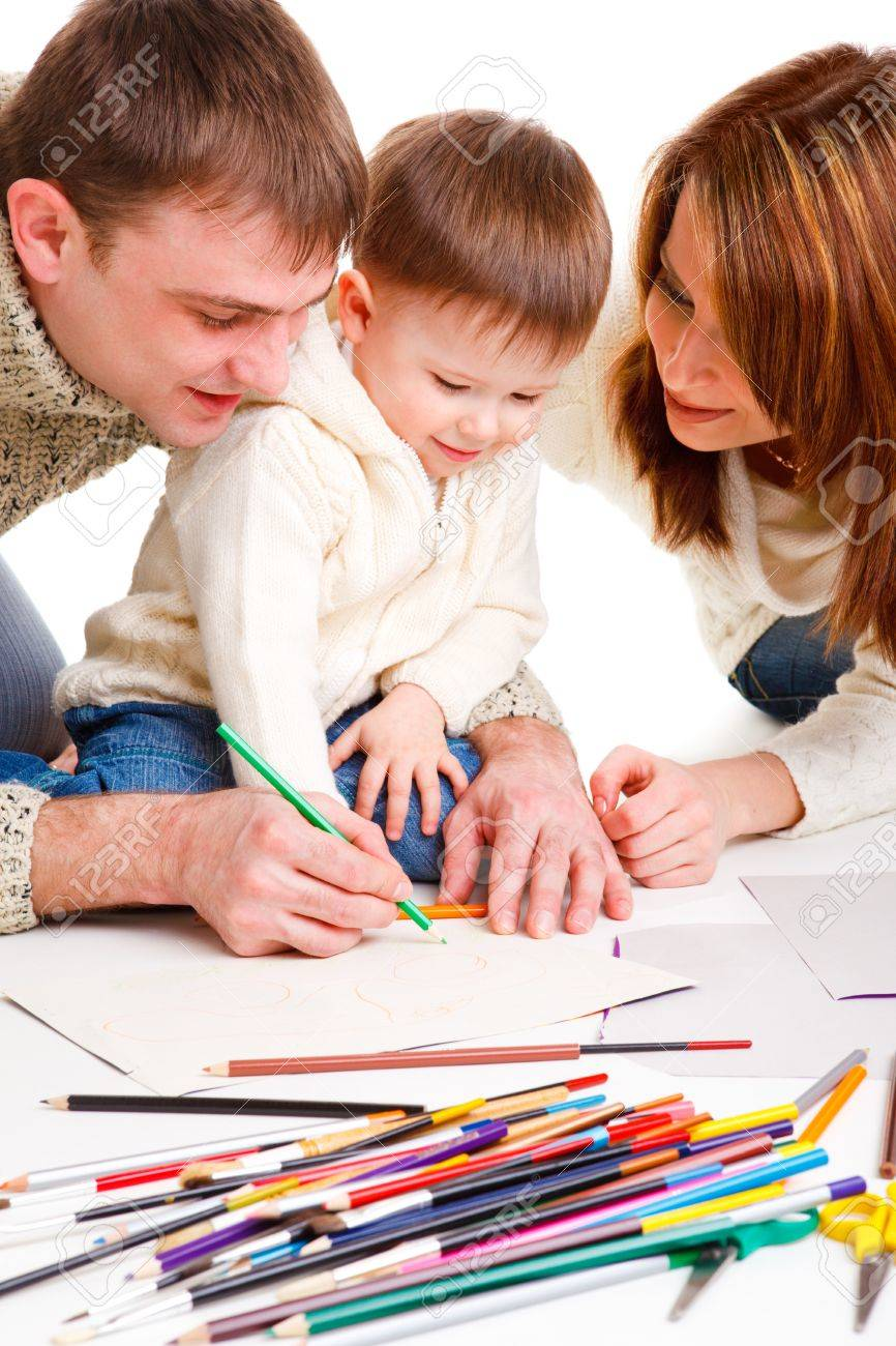 Parents drawing  with  little son Stock Photo - 8168565