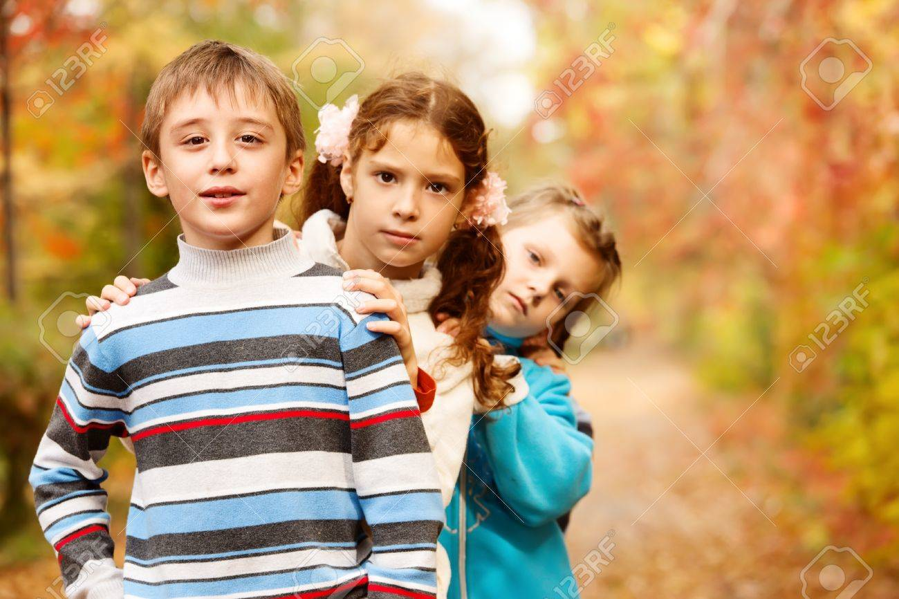 Children group in fall Stock Photo - 10849312