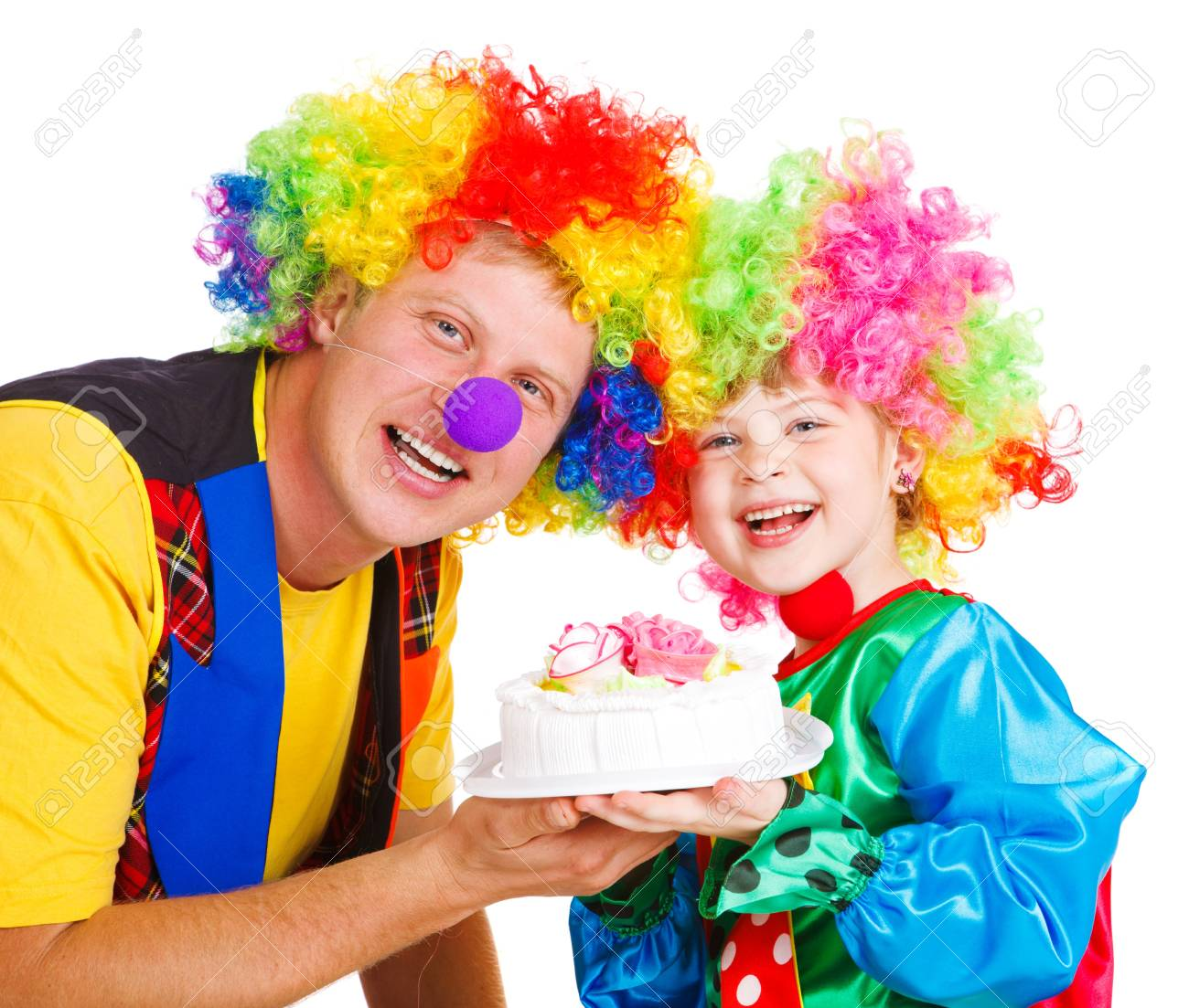 Miraculous Two Clowns Holding Birthday Cake Isolated Stock Photo Picture Funny Birthday Cards Online Inifodamsfinfo