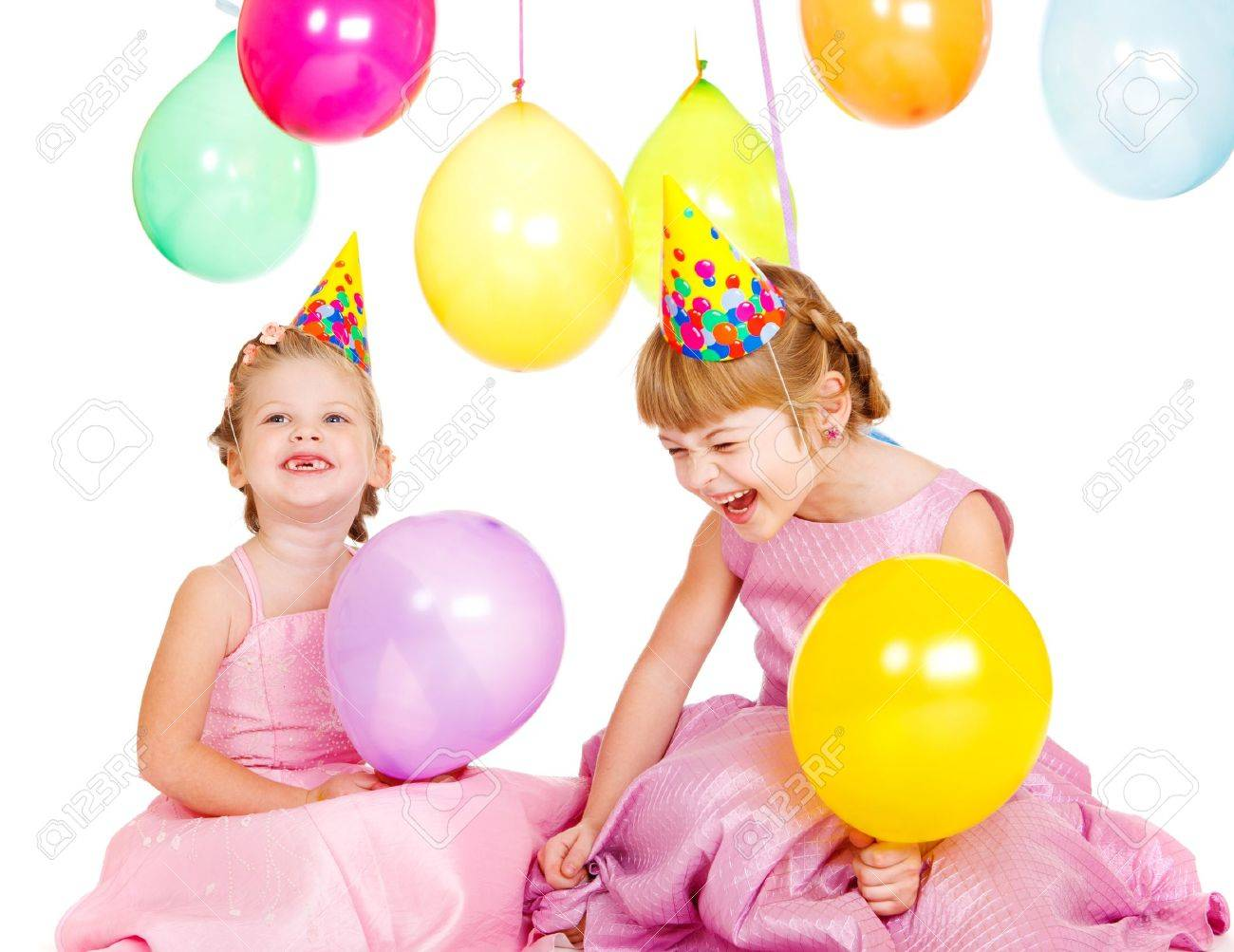 Kids Laughing And Playing Laughing Kids in Party Hats