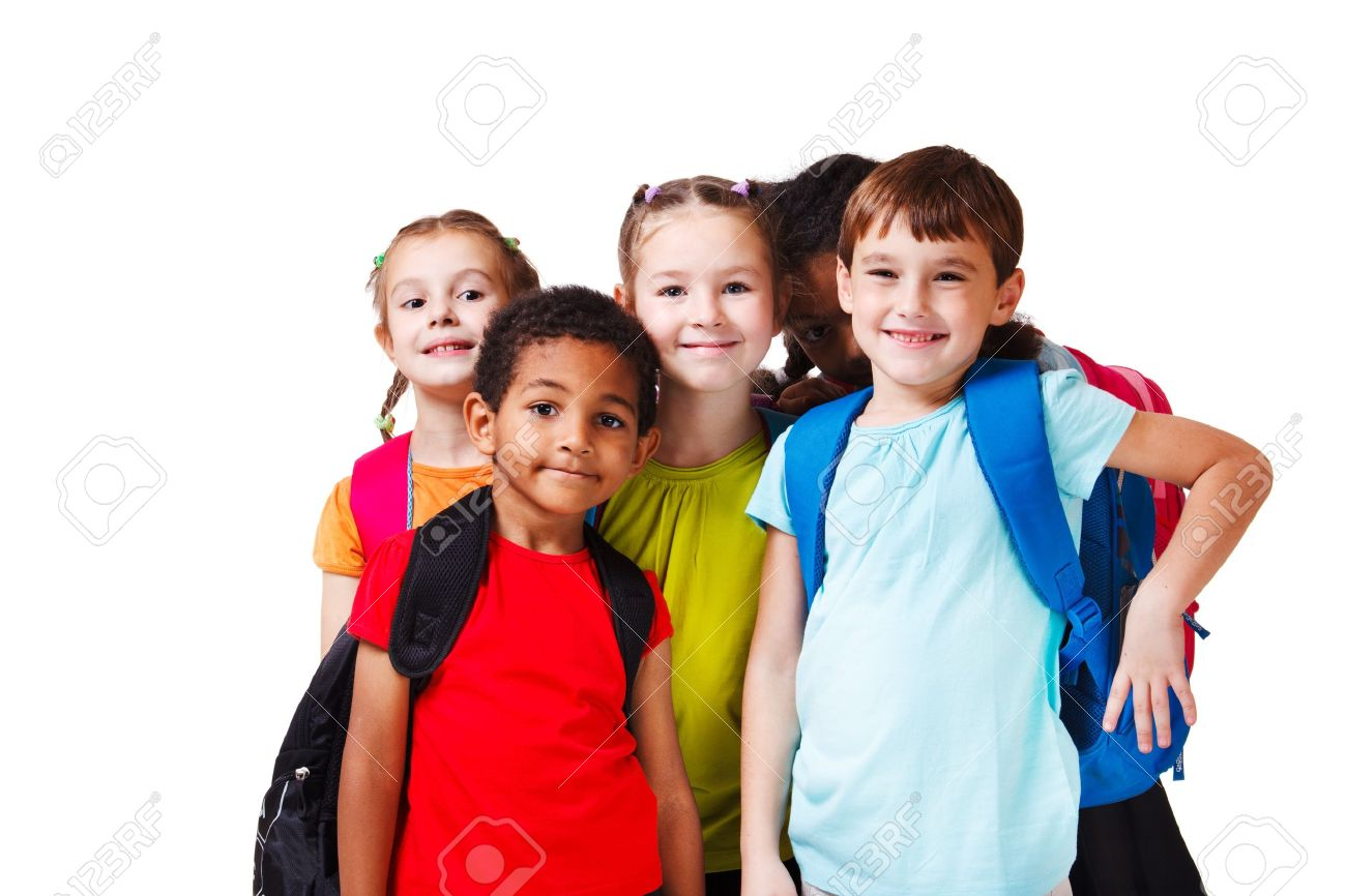 Kids With Backpacks In Colorful T-shirts Stock Photo, Picture And ...