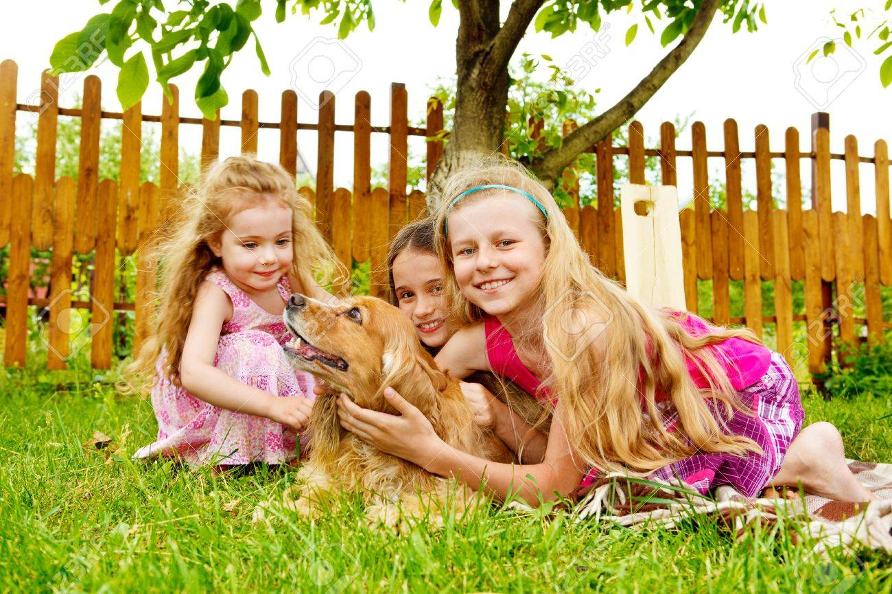 Happy Kids Playing With Dog In The Backyard Stock Photo Picture