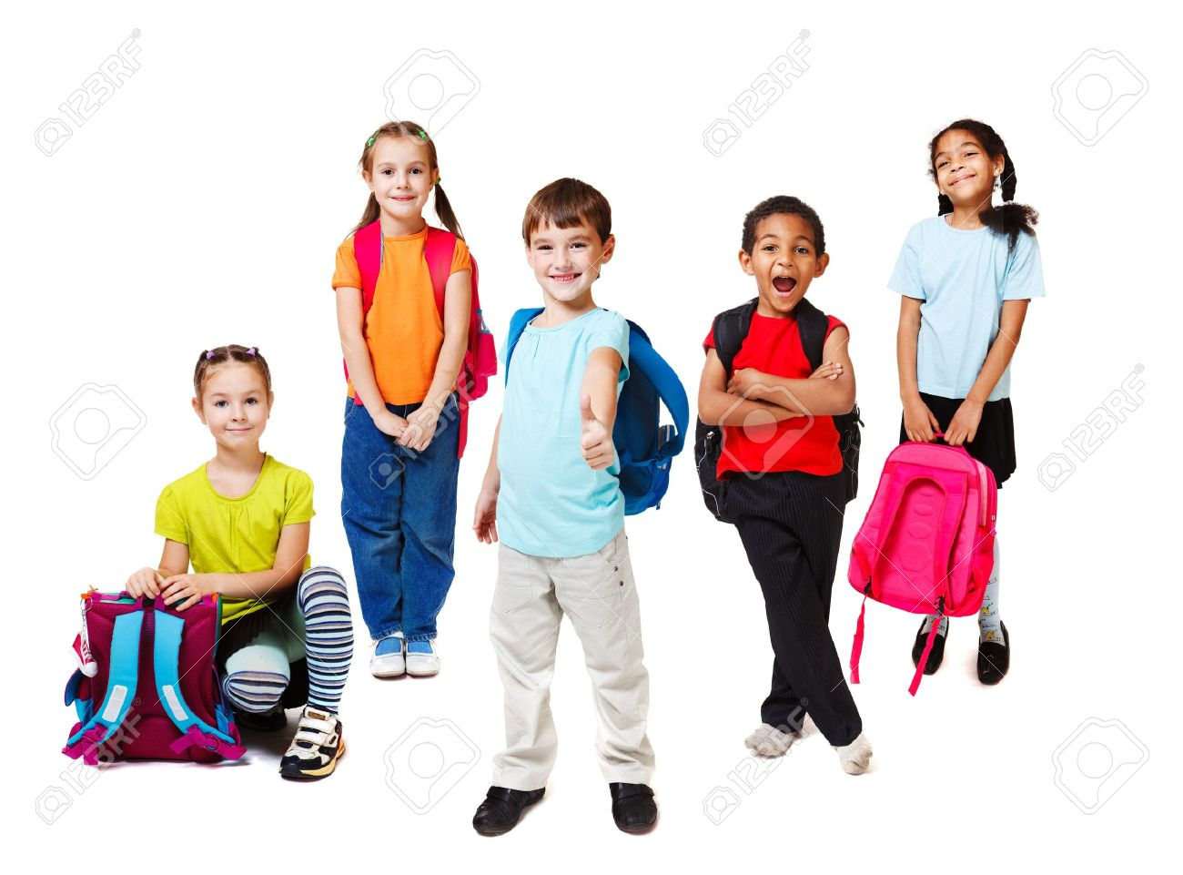 Primary school students with backpacks Stock Photo - 12973778
