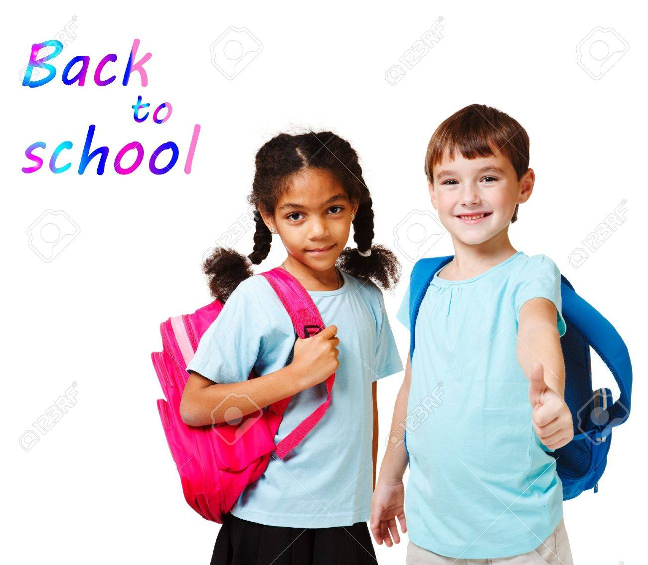 school aged child two school kids in blue t shirts with backpacks stock photo - School Pictures For Kids