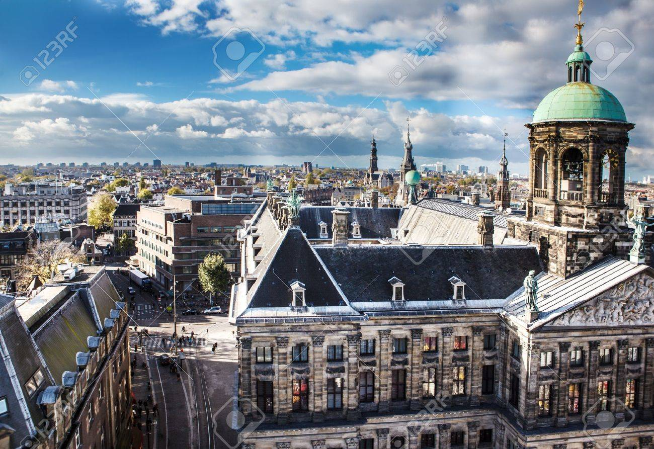 Aerial view of the royal palace and street leading to it, Amsterdam, Netherlands Stock Photo - 16266050