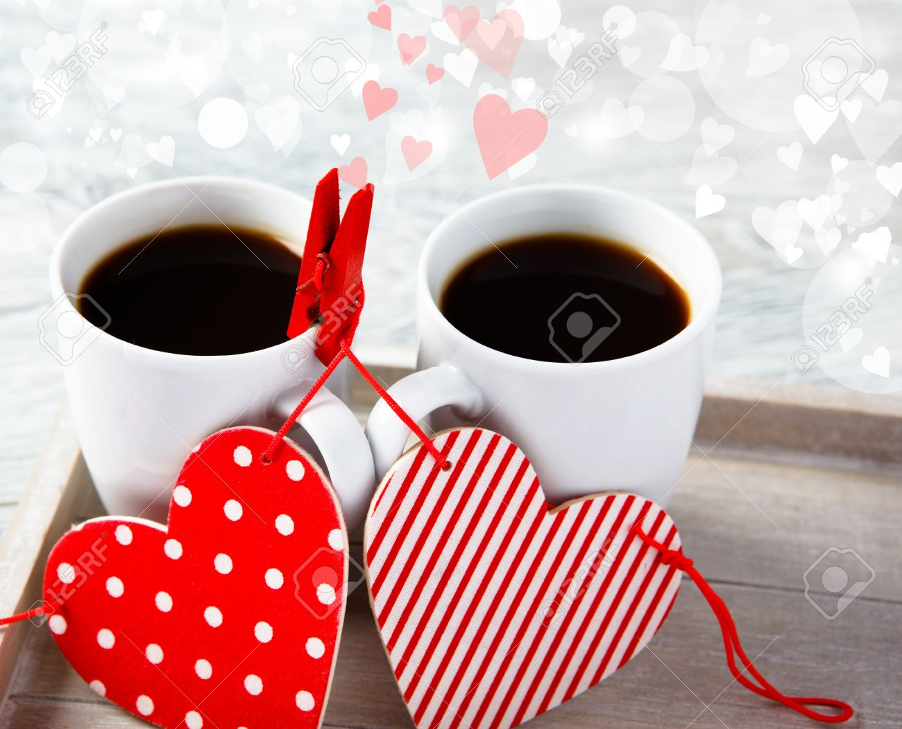 Morning Valentine Coffee With Two Hearts Pinned To The Cups Stock Photo    16931947