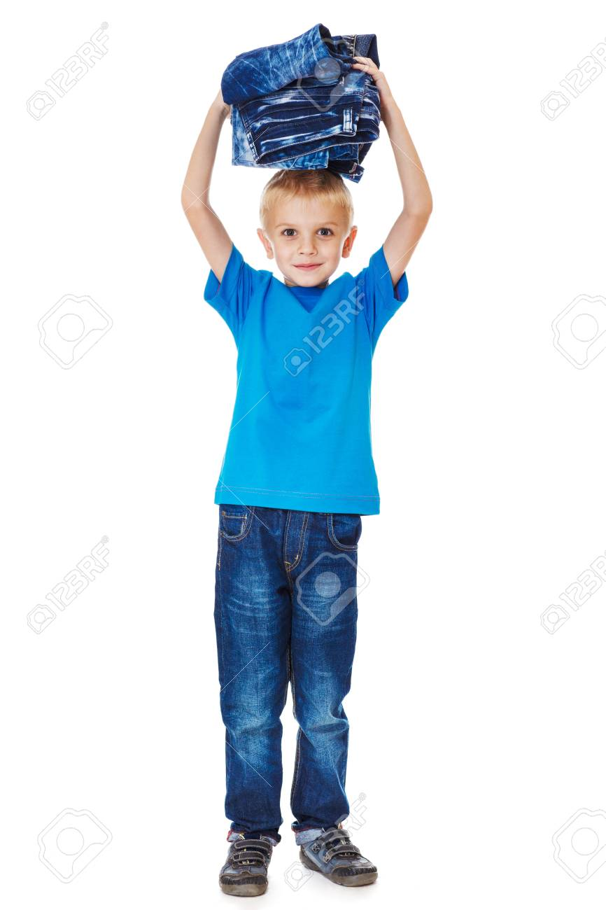 Happy consumer with pile of jeans over his head Stock Photo - 17798589