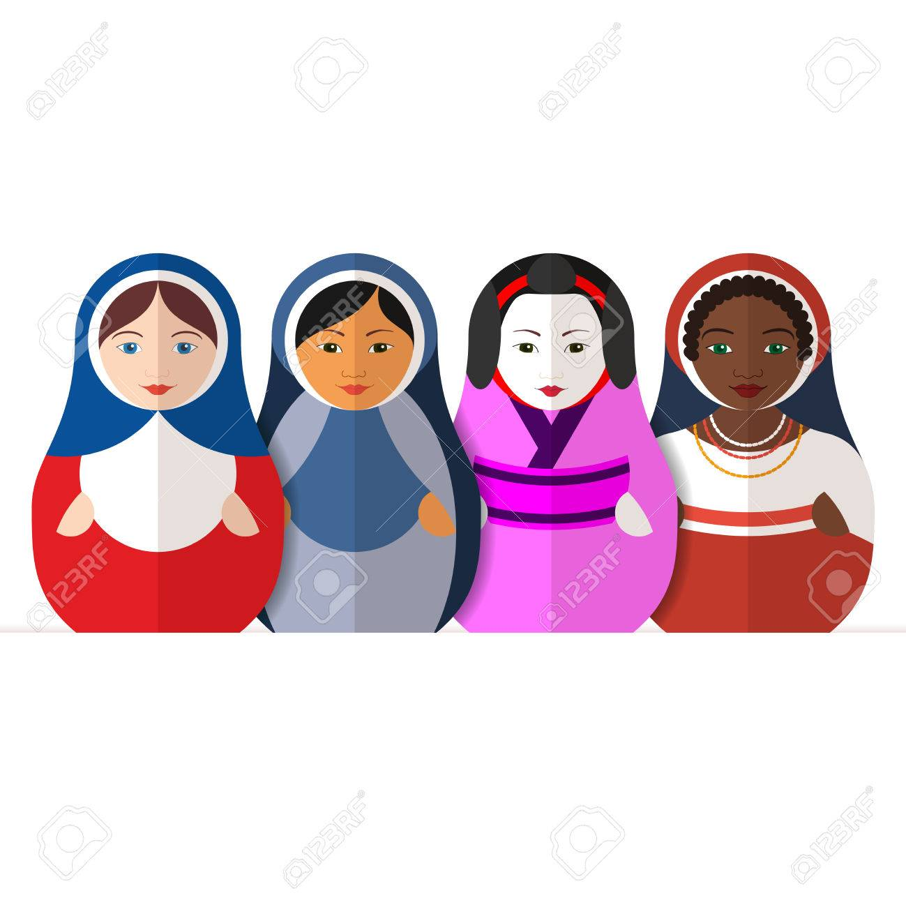 Traditional russian matryoshka dolls representing different traditional russian matryoshka dolls representing different cultures women in different traditional clothes symbol of peace biocorpaavc Image collections