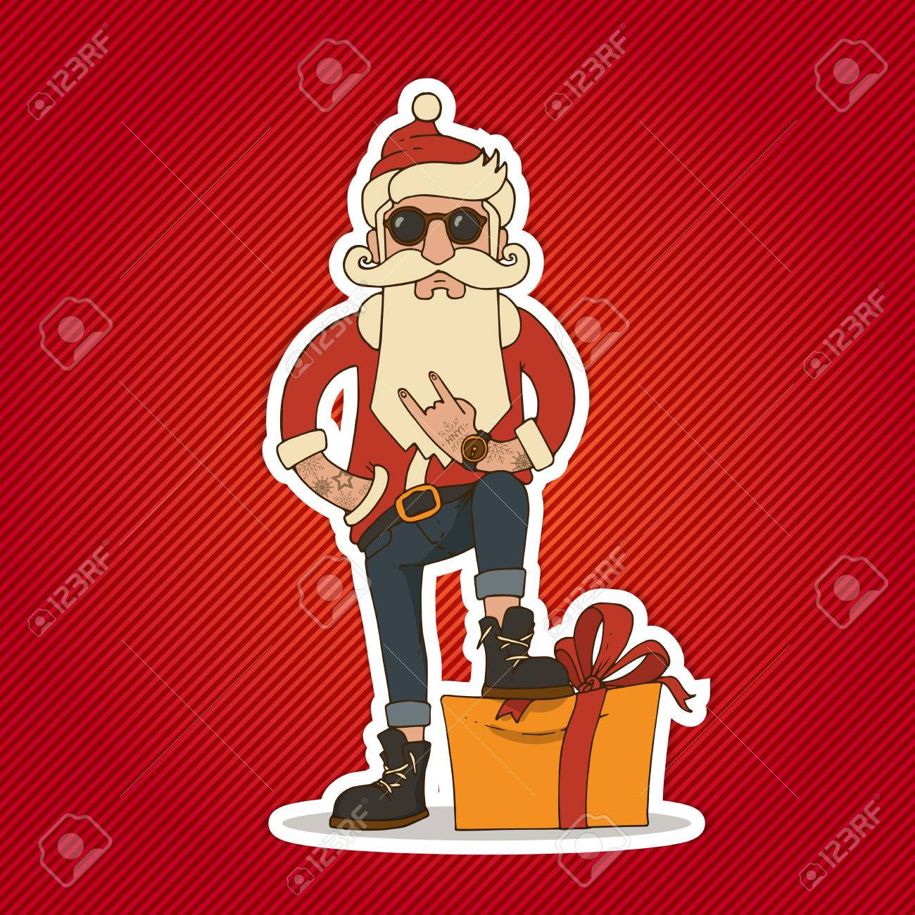 7f8d86f37d9 Hipster Santa Claus with Stylish beard and hip sunglasses. Christmas and  New Year vector illustration