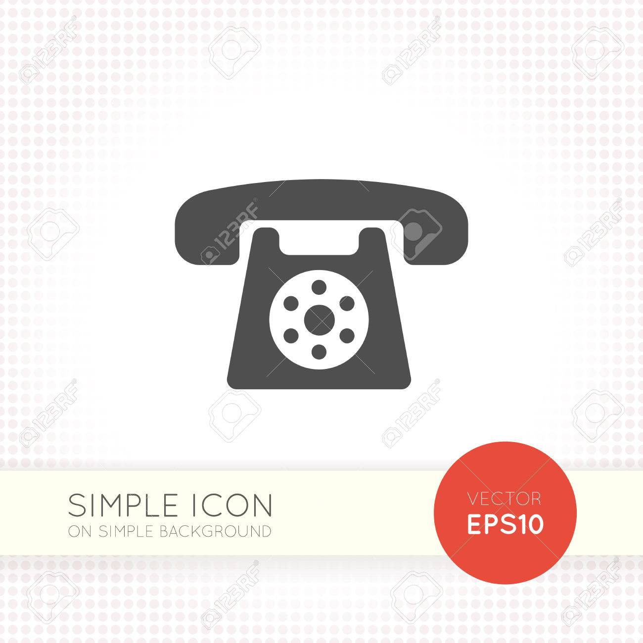 Universal Flat Wired Phone Icon Eps. Retro Phone AI. Element ...