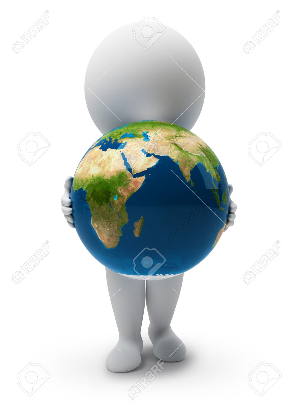 3d small people with a planet the Earth. 3d image. Isolated white background. Stock Photo - 6293231