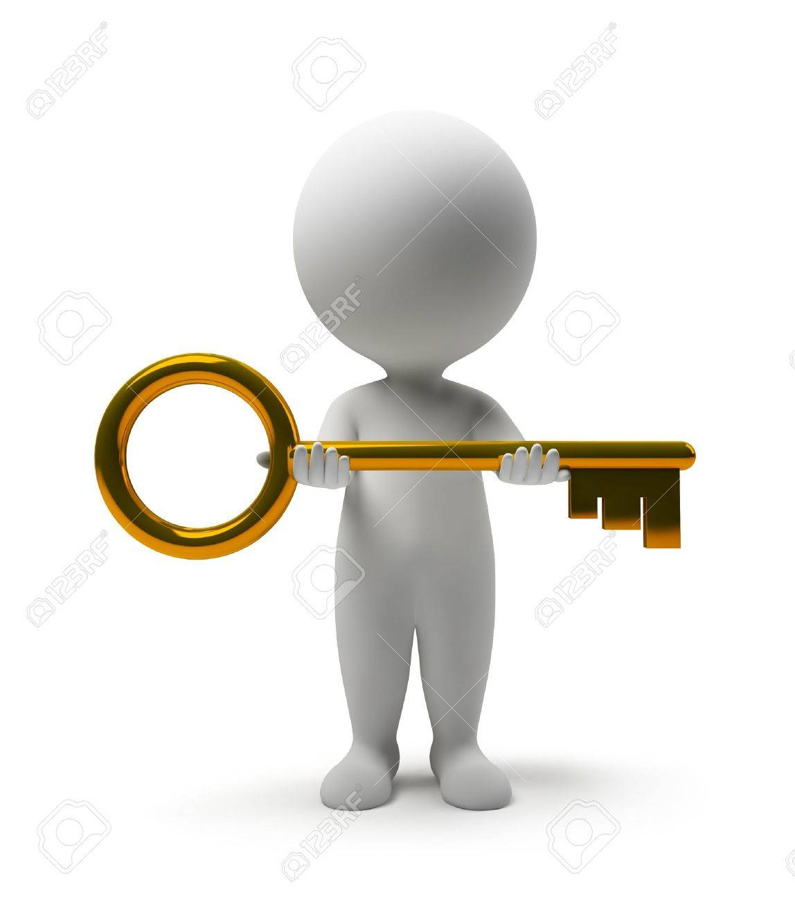 With golden key 3d rendering plan concept with golden key 3d rendering - Gold Key 3d Small People With A Gold Key In Hands 3d Image