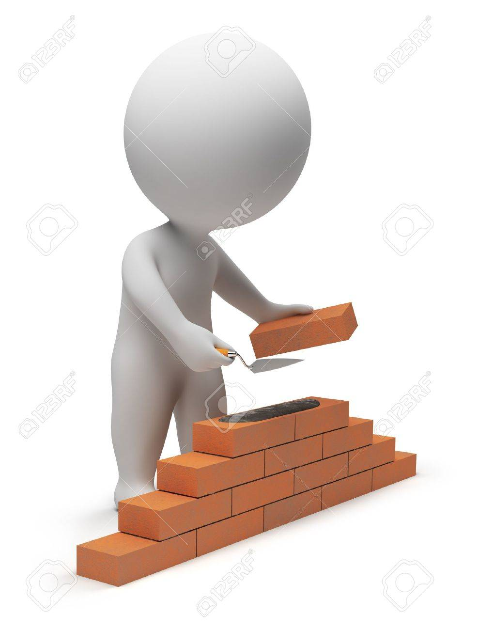 3d small people - builder laying down bricks. 3d image. Isolated white background. Stock Photo - 6582786
