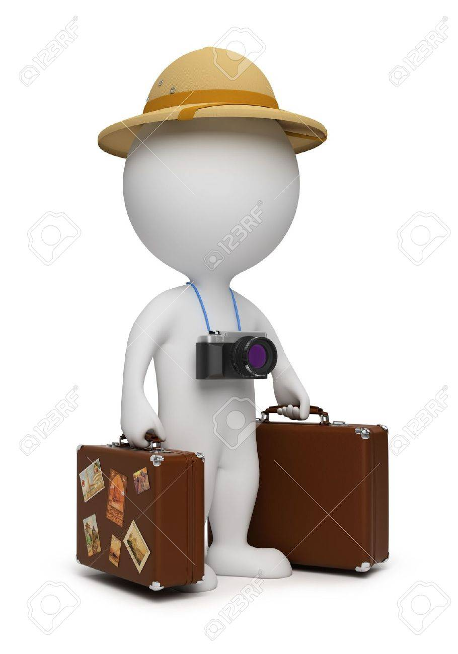 3d small people - tourist with suitcases and the camera. 3d image. Isolated white background. - 7026901
