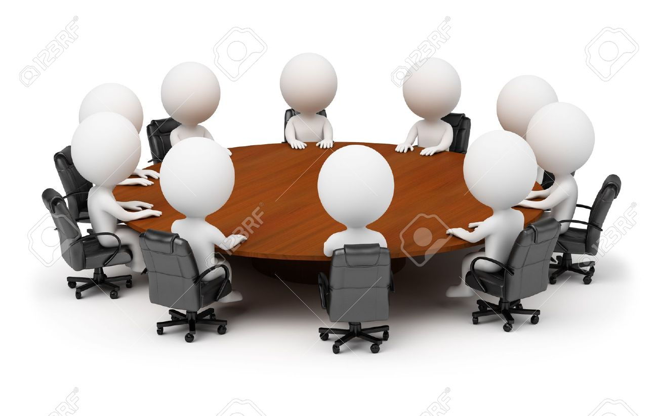 Round table meeting icon - Board Meeting Table 3d Small People Session Behind A Round Table 3d Image