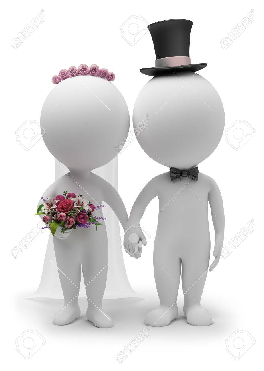 Men holding the word party concept 3d illustration stock photo - Small People 3d Small People Wedding Of The Groom And The Bride 3d