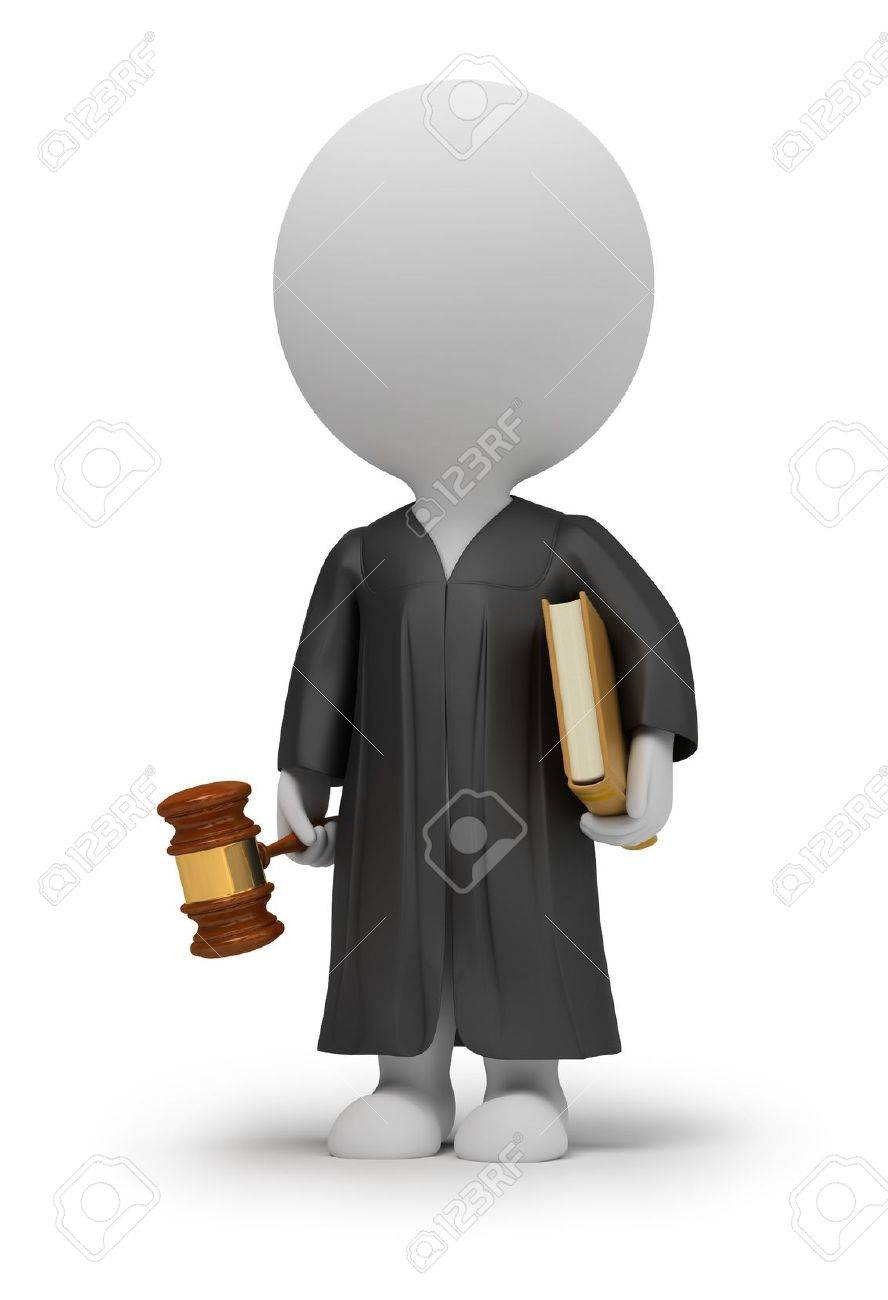 3d small people - judge in a cloak with a hammer and the book. 3d image. Isolated white background. Stock Photo - 8519134
