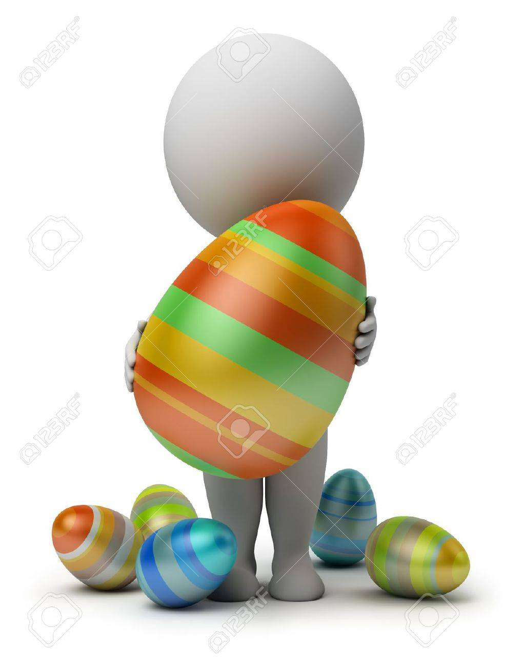 3d small person holds the big Easter egg in a hand. 3d image. Isolated white background. Stock Photo - 9074999