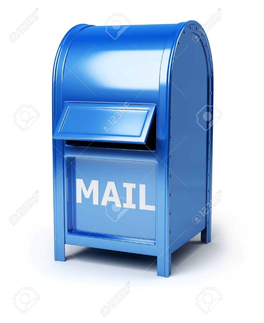 Dark blue brilliant mail box. 3d image. Isolated white background. Stock Photo - 9404736