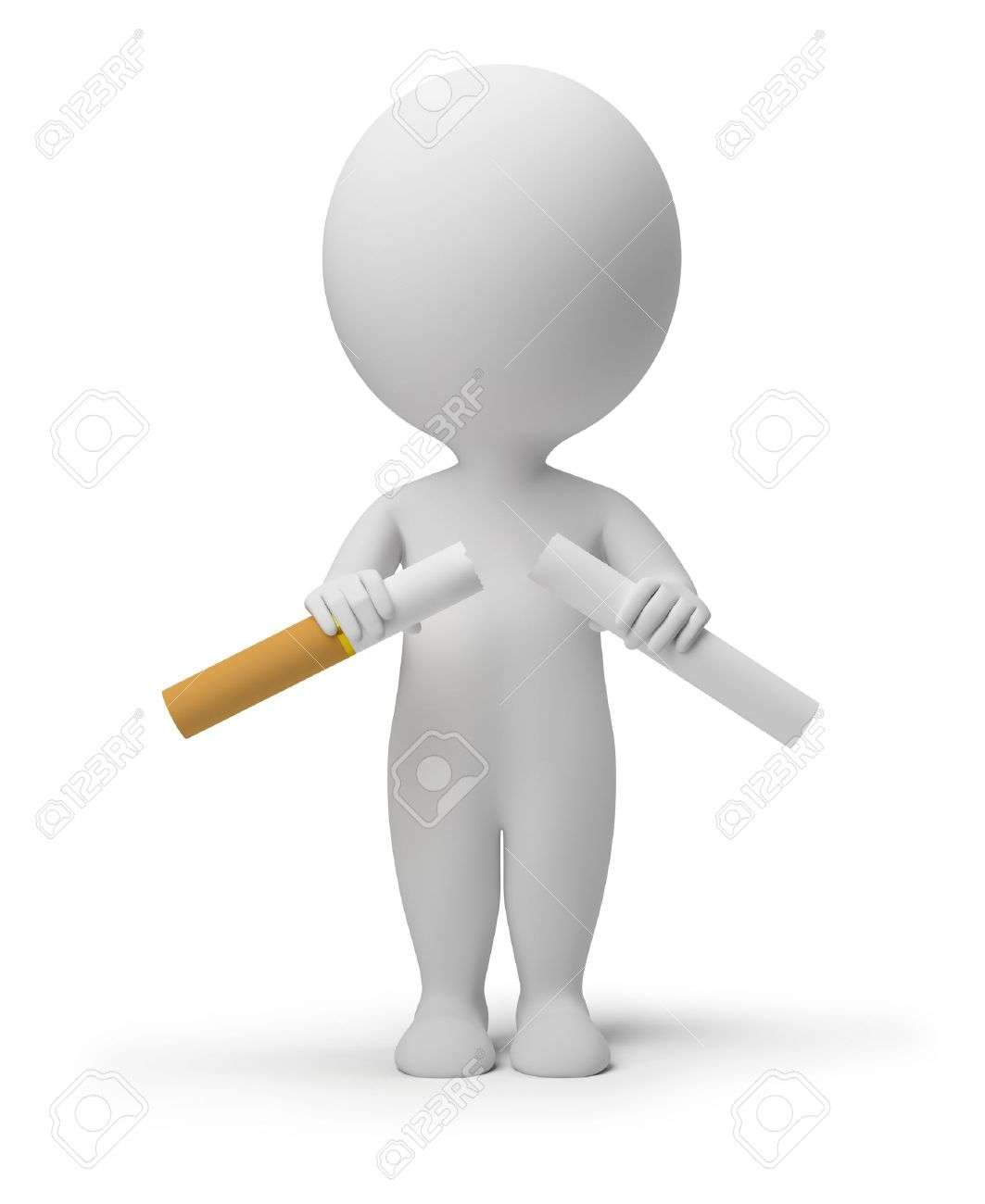 3d small person breaking a cigarette. 3d image. Isolated white background. Stock Photo - 9631601
