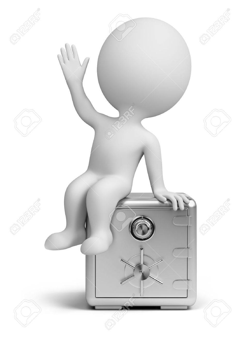 3d small person sitting on the steel safe. 3d image. Isolated white background. Stock Photo - 9920092
