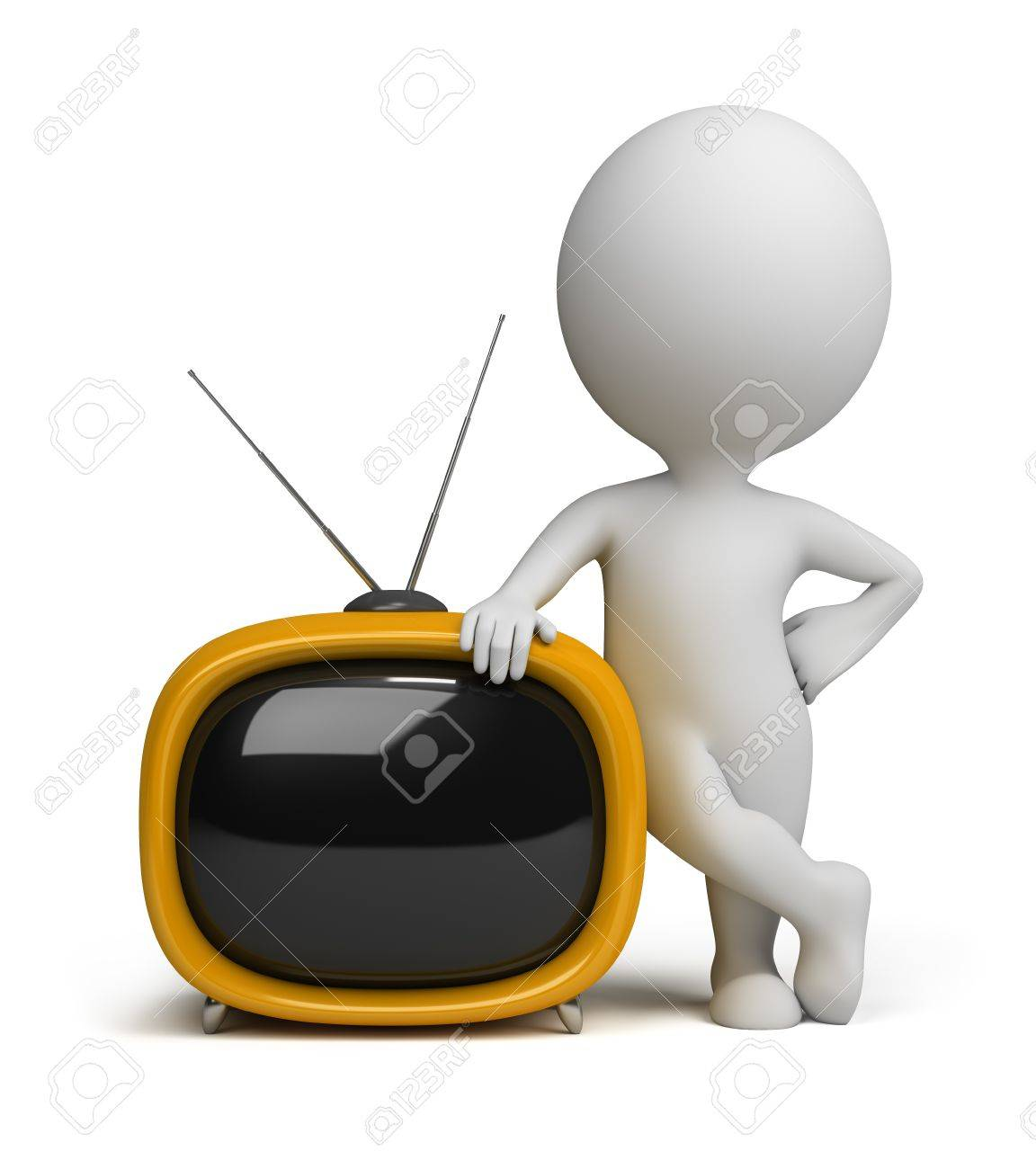 3d small person standing next to a yellow retro TV. 3d image. Isolated white background. Stock Photo - 10280410