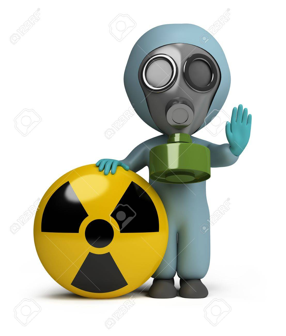 3d small person in a gas mask next to the sign of radiation. 3d image. Isolated white background. Stock Photo - 10694990